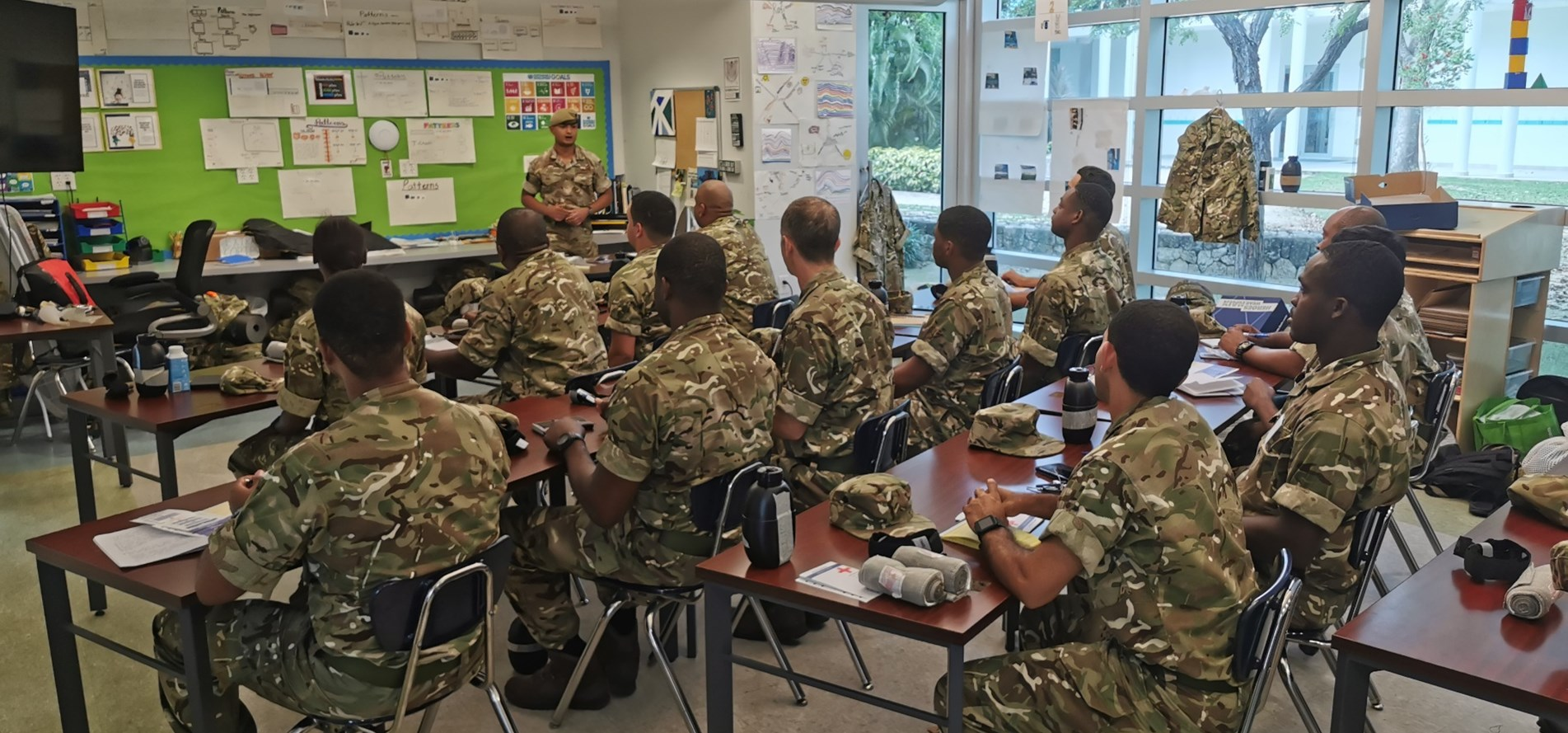 A Household Divison Soldiers teaches Cayman Island Regiment Recruits.jpg