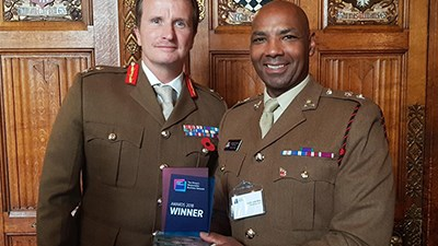 20181030-GOC ARITC Maj Gen Paul Nanson and Lt Col Sulle Alhaji collecting the Public Sector Recruitment of Race AwardWEBLNK.jpg